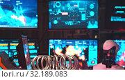 Купить «RUSSIA, KAZAN 10-09-2019: Secret Alien Research Lab - A Robot Controls the Work in thouse Walls - electric current generating machine on the foreground - technology exhibition», видеоролик № 32189083, снято 19 октября 2019 г. (c) Константин Шишкин / Фотобанк Лори