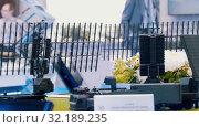 Купить «Local satellite and antennas in the lab - recreation of an area on the technology exhibition», видеоролик № 32189235, снято 22 сентября 2019 г. (c) Константин Шишкин / Фотобанк Лори