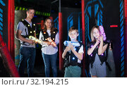 Kids during lasertag game. Стоковое фото, фотограф Яков Филимонов / Фотобанк Лори
