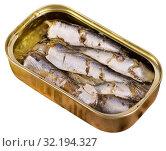 Купить «Open can of sardines», фото № 32194327, снято 20 сентября 2019 г. (c) Яков Филимонов / Фотобанк Лори