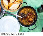 Купить «Pote Asturiano – thick pottage with sausage», фото № 32194351, снято 20 сентября 2019 г. (c) Яков Филимонов / Фотобанк Лори
