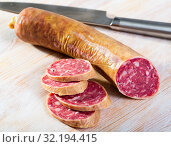 Купить «Spanish dry cured pork sausage Salchichon», фото № 32194415, снято 20 сентября 2019 г. (c) Яков Филимонов / Фотобанк Лори