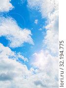 Купить «Небесный пейзаж. Синее небо. Blue sky background. Picturesque colorful clouds lit by sunlight. Picturesque sky view in colorful tones», фото № 32194775, снято 3 июля 2018 г. (c) Зезелина Марина / Фотобанк Лори