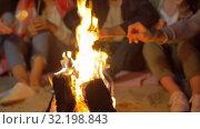 Купить «friends roasting marshmallow on camp fire at night», видеоролик № 32198843, снято 9 сентября 2019 г. (c) Syda Productions / Фотобанк Лори