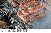 Sausages on a metal grid grilling over hot coals. Стоковое видео, видеограф FotograFF / Фотобанк Лори