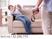 Купить «Father beating and punishing his sone», фото № 32206715, снято 21 мая 2019 г. (c) Elnur / Фотобанк Лори