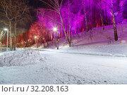 Купить «Christmas (New Year holidays) decoration in Moscow (at night), Russia-- Andreevskaya (Andreevsky) embankment», фото № 32208163, снято 9 января 2019 г. (c) Владимир Журавлев / Фотобанк Лори