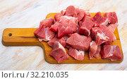 Купить «Uncooked chopped pork for stew», фото № 32210035, снято 22 октября 2019 г. (c) Яков Филимонов / Фотобанк Лори