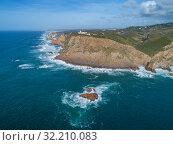 Купить «Aerial view of lighthouse at Cape Roca», фото № 32210083, снято 27 февраля 2019 г. (c) Михаил Коханчиков / Фотобанк Лори