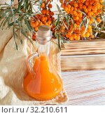 Vegetarian food, healthy nutrition, preserving the harvest of ripe juicy sea-buckthorn, preparing fresh healthy vitamin drink and healing broth. Jug with juice and branches of sea buckthorn. Стоковое фото, фотограф Светлана Евграфова / Фотобанк Лори