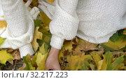 Купить «Neckline girl hands with autumn leaves then face», видеоролик № 32217223, снято 23 сентября 2019 г. (c) Gennadiy Poznyakov / Фотобанк Лори
