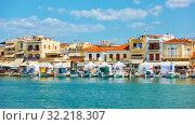 Купить «Port and waterfront with small houses in Aegina town», фото № 32218307, снято 13 сентября 2019 г. (c) Роман Сигаев / Фотобанк Лори