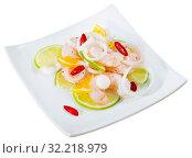 Ceviche with shrimps, lime, tangerine and hot pepper. Стоковое фото, фотограф Яков Филимонов / Фотобанк Лори