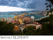 Malaga with Placa de Torros from castle in sunny time. Andalusia, Spain (2019 год). Стоковое фото, фотограф Яков Филимонов / Фотобанк Лори