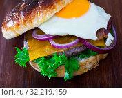 Купить «Cheeseburger with beef patty, fried egg, bacon, vegetables», фото № 32219159, снято 23 октября 2019 г. (c) Яков Филимонов / Фотобанк Лори
