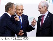 Купить «29.09.2011 Warsaw, Poland. Eastern Partnership Summit. Pictured: Jerzy Buzek, Donald Tusk, Herman van Rompuy», фото № 32220035, снято 22 октября 2019 г. (c) age Fotostock / Фотобанк Лори