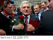 9.06.2009 Warsaw, Poland. Pictured: Jerzy Buzek, Donald Tusk. Редакционное фото, фотограф jackowski henryk / age Fotostock / Фотобанк Лори