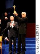 16.01.2010 Warsaw, Poland. Business Center Club Gala. Pictured: Jerzy Buzek, Janusz Lewandowski. Редакционное фото, фотограф nowak rafal / age Fotostock / Фотобанк Лори