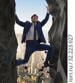 Купить «Businessman overcoming challenges in business concept», фото № 32223027, снято 11 декабря 2019 г. (c) Elnur / Фотобанк Лори