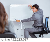 Купить «Business presentation in the office with man and woman», фото № 32223087, снято 7 августа 2017 г. (c) Elnur / Фотобанк Лори