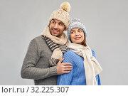 happy couple in winter clothes. Стоковое фото, фотограф Syda Productions / Фотобанк Лори