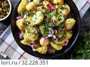 Купить «close-up of savory german new potato salad», фото № 32228351, снято 15 мая 2019 г. (c) Oksana Zh / Фотобанк Лори