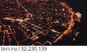 Купить «Night aerial view of downtown of Lisbon overlooking medieval Cathedral and Castle of Sao Jorge, Portugal», видеоролик № 32230139, снято 22 мая 2019 г. (c) Яков Филимонов / Фотобанк Лори
