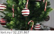 Купить «Decorated Christmas tree», видеоролик № 32231867, снято 28 сентября 2019 г. (c) Иван Михайлов / Фотобанк Лори