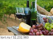 Купить «Red wine with cheese, bread in basket and grapes», фото № 32232983, снято 31 марта 2020 г. (c) Яков Филимонов / Фотобанк Лори