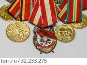 Купить «Орден Красного Знамени (орден «Красное знамя»)  на фоне медалей», эксклюзивное фото № 32233275, снято 15 апреля 2019 г. (c) Игорь Низов / Фотобанк Лори