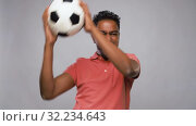 indian man or football fan with soccer ball. Стоковое видео, видеограф Syda Productions / Фотобанк Лори