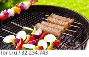 Купить «barbecue kebab meat and vegetables on grill», видеоролик № 32234743, снято 20 сентября 2019 г. (c) Syda Productions / Фотобанк Лори