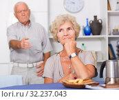 Купить «Senior woman offended after quarrel with husband», фото № 32237043, снято 28 августа 2017 г. (c) Яков Филимонов / Фотобанк Лори