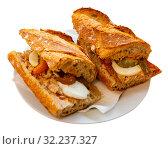 Купить «Sandwich with anchovies and eggs», фото № 32237327, снято 12 декабря 2019 г. (c) Яков Филимонов / Фотобанк Лори