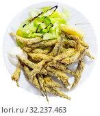 Купить «Fried anchovies with sauce and herbs. Spanish cuisine», фото № 32237463, снято 13 октября 2019 г. (c) Яков Филимонов / Фотобанк Лори