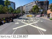 Купить «October 1, 2019 - Around 100 people manifestated this morning in front of the subdelegation of the spanish government in Girona. In this manifestation...», фото № 32238807, снято 1 октября 2019 г. (c) age Fotostock / Фотобанк Лори