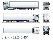 Купить «Vector cargo semi truck mockup isolated on white», иллюстрация № 32240451 (c) Александр Володин / Фотобанк Лори