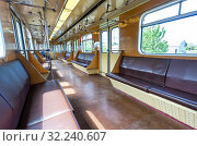 Купить «Interior view of the wagon train in subway», фото № 32240607, снято 26 мая 2019 г. (c) FotograFF / Фотобанк Лори