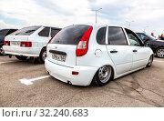 Купить «Tuned Russian automobile Lada Kalina», фото № 32240683, снято 19 мая 2018 г. (c) FotograFF / Фотобанк Лори