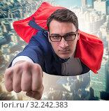 Купить «Flying super hero over the city», фото № 32242383, снято 6 декабря 2019 г. (c) Elnur / Фотобанк Лори