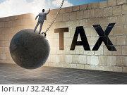 Купить «Businessman in tax return submission concept», фото № 32242427, снято 22 октября 2019 г. (c) Elnur / Фотобанк Лори