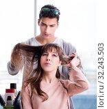 Купить «Man stylist working with woman in beauty salon», фото № 32243503, снято 18 декабря 2017 г. (c) Elnur / Фотобанк Лори
