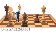 Купить «Businessman in large chess board in strategy concept», фото № 32243631, снято 30 марта 2020 г. (c) Elnur / Фотобанк Лори