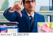 Купить «Businessman with reminder notes in multitasking concept», фото № 32243919, снято 26 сентября 2017 г. (c) Elnur / Фотобанк Лори