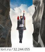 Купить «Businessman overcoming challenges in business concept», фото № 32244055, снято 11 декабря 2019 г. (c) Elnur / Фотобанк Лори