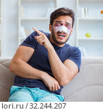 Купить «Young man recovering healing at home after plastic surgery nose», фото № 32244207, снято 26 июля 2017 г. (c) Elnur / Фотобанк Лори