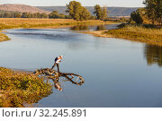 Купить «The fisherman is fishing on the Zilim River. Bashkortostan.», фото № 32245891, снято 30 августа 2016 г. (c) Акиньшин Владимир / Фотобанк Лори
