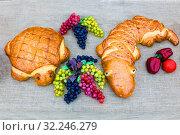 Купить «Russia, Samara, October 2016: Figured bread in the shape of a crocodile and a turtle.», фото № 32246279, снято 27 октября 2016 г. (c) Акиньшин Владимир / Фотобанк Лори