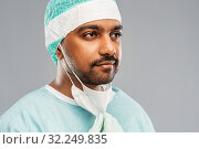 Купить «face of doctor or surgeon with protective mask», фото № 32249835, снято 8 сентября 2019 г. (c) Syda Productions / Фотобанк Лори