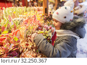 little girl choosing sweets at christmas market. Стоковое фото, фотограф Syda Productions / Фотобанк Лори
